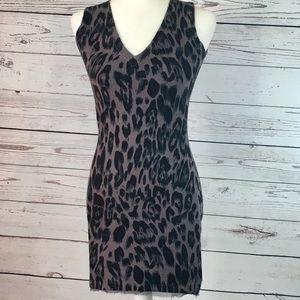 Neiman Marcus leopard sleeveless sweater dress